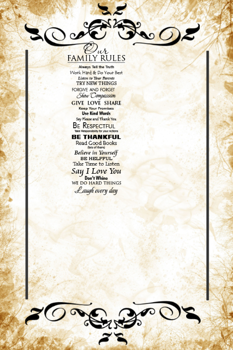 Family Rules Gift Wall Art Decor Poster Template | PosterMyWall