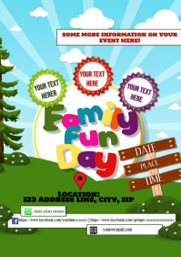 Family Summer Fun Day Event A5 template