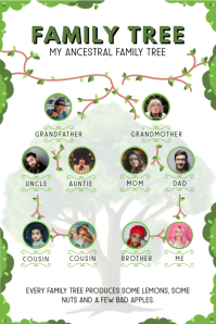 Family Tree Wines and Branches Template