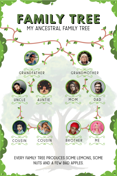 Family Tree Wines and Branches Template Poster