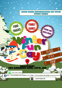 Family Winter Christmas Fun Day Event A5 template