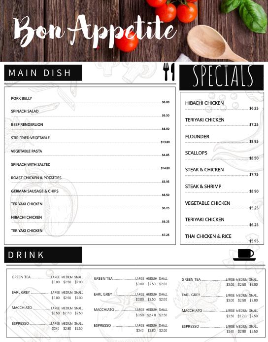 fancy menu template