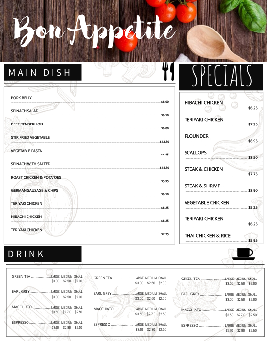 Fancy Restaurant Menu Template
