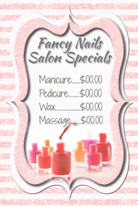 Fancy Small Business Pricing Guide Poster Nail Salon Special