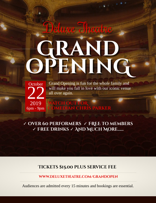 Fancy Theater Grand Opening Flyer Template  Postermywall