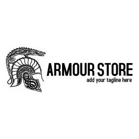 fantasy black and white helmet icon logo