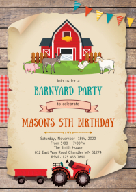 Farm birthday party invitation