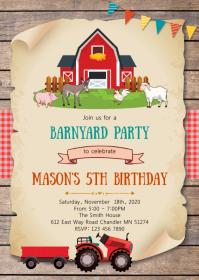 Farm birthday party invitation A6 template