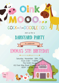 Farm petting zoo birthday party invitation