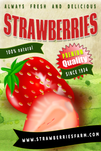farm strawberries Poster template