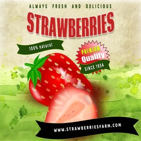 farm strawberries instagram สี่เหลี่ยมจัตุรัส (1:1) template