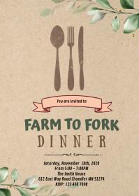 Farm to fork dinner invitation