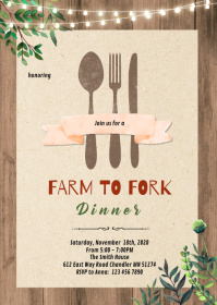 Farm to fork dinner party invitation A6 template