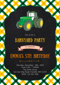 Farm tractor birthday party invitation