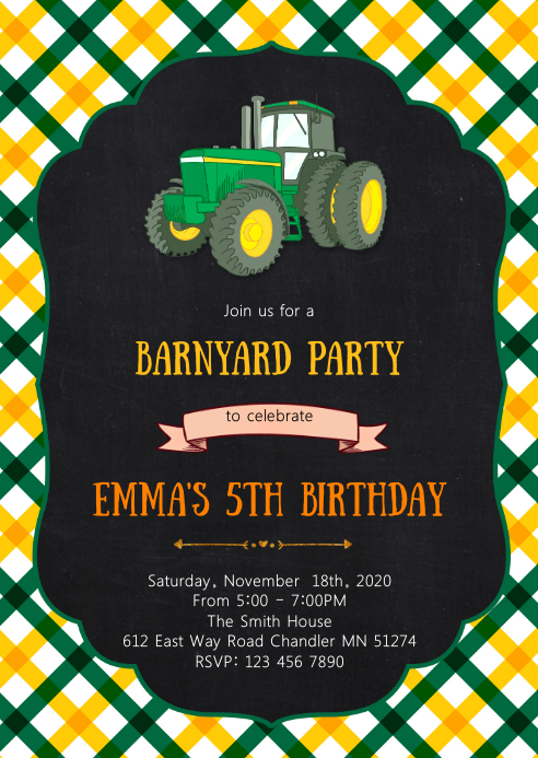 Farm tractor birthday party invitation