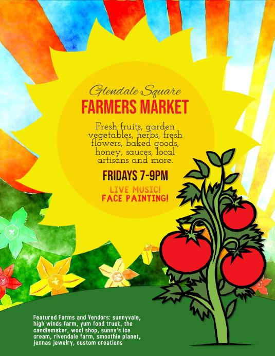 Farmer's Market Farm Stand Flyer ใบปลิว (US Letter) template