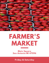 Farmer's Market Strawberry Flyer Folheto (US Letter) template