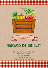 Farmer market birthday party invitation