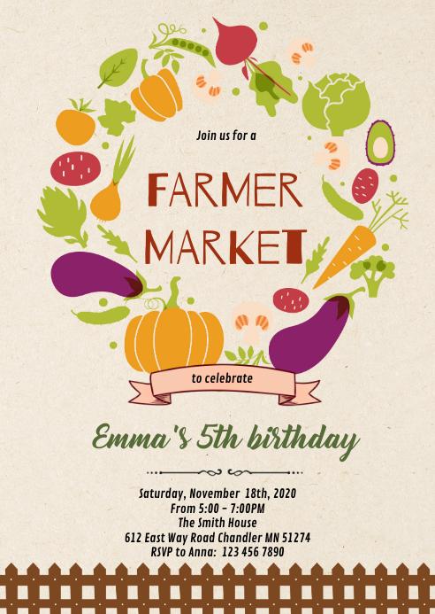 Farmer market party invitation A6 template