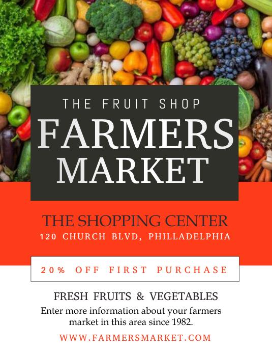 farmers market Рекламная листовка (US Letter) template