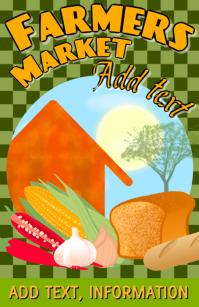 farmers market with bread corn chili garlic onion and house
