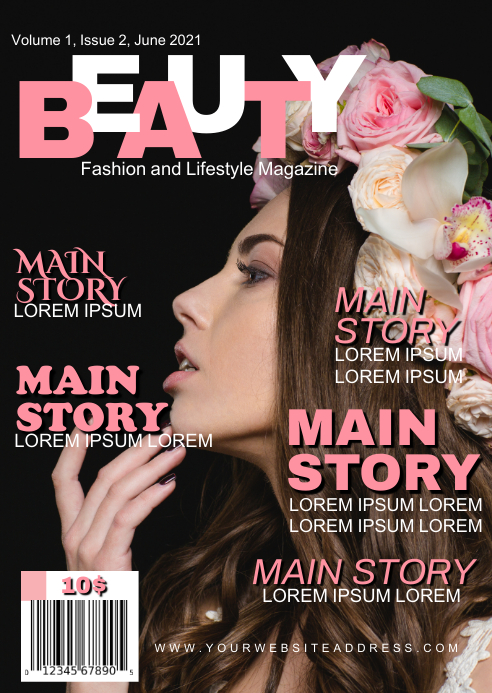 fashion and lifestyle magazine cover page tem A6 template