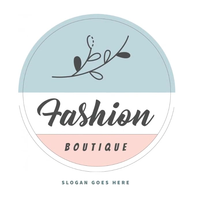 fashion boutique circle blue pink logo โลโก้ template
