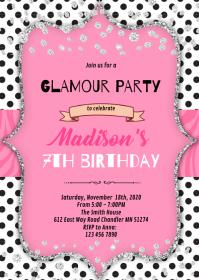 Fashion diva birthday invitation A6 template