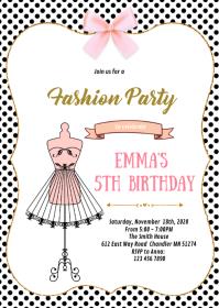 Fashion diva Princess Quinceañera invitation A6 template
