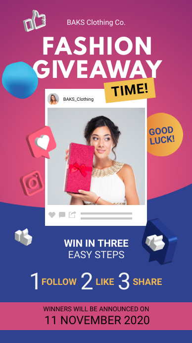 Fashion Giveaway Template Instagram Story