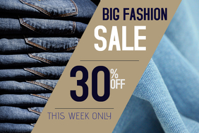 Fashion jeans sale poster template