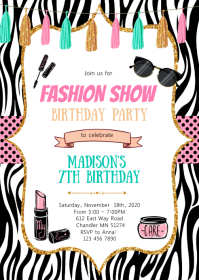 Fashion make up birthday invitation A6 template
