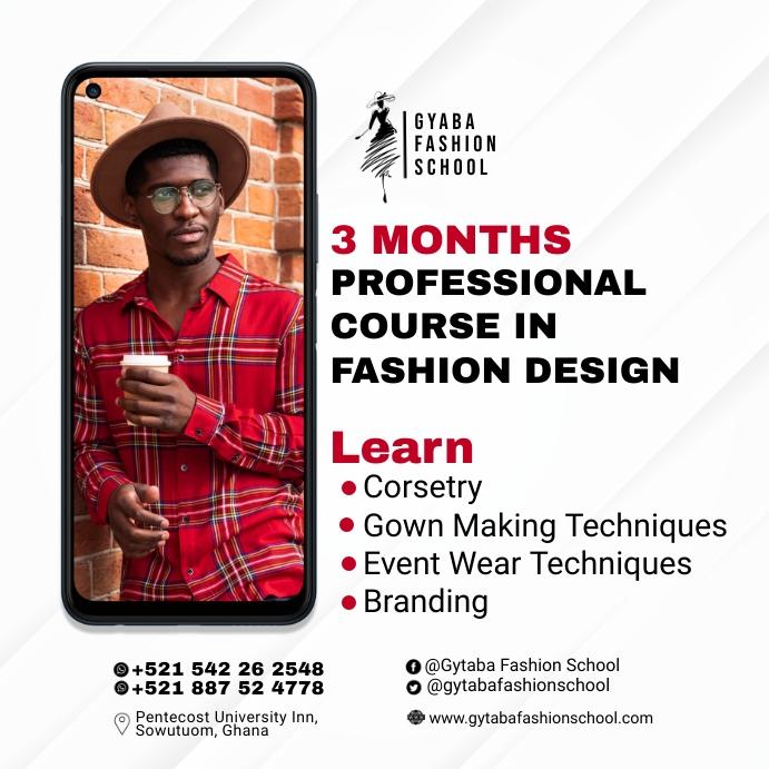 Fashion School Flyer Template Wpis na Instagrama