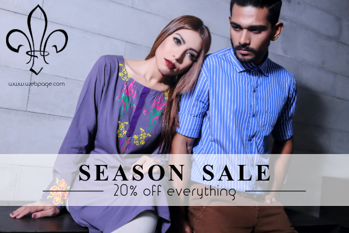 Fashion Season Sale retail Poster Template Lanscape