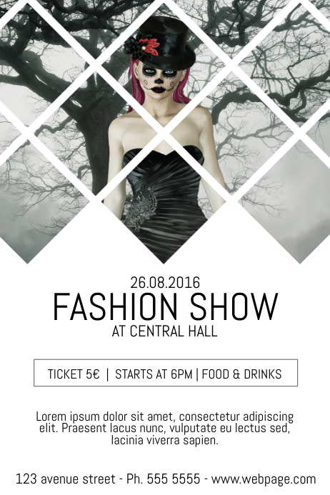 Fashion show event flyer template with background photo