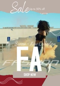 Fashion Typography Sale Video Flyer A4 template