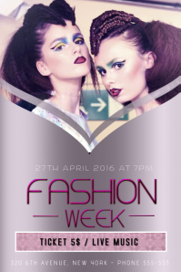 fashion week flyer template purple