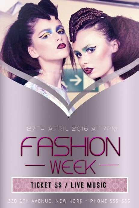 fashion week flyer template purple