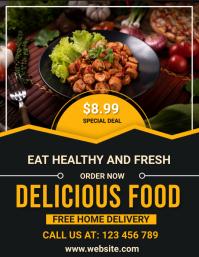 fast food, delicious burger,restaurant Рекламная листовка (US Letter) template