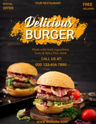 Burger,fast food, delicious burger,restaurant Flyer (US Letter) template