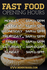 Fast Food Burger Bar Opening Hours Poster Template