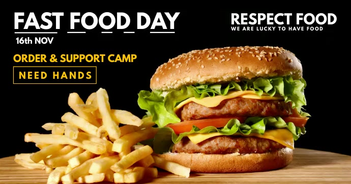 Fast Food Day 2020 Video Template Facebook 共享图片