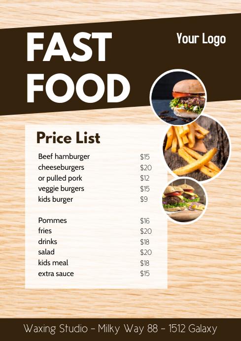 Fast Food Flyer Price List Advert Take Away