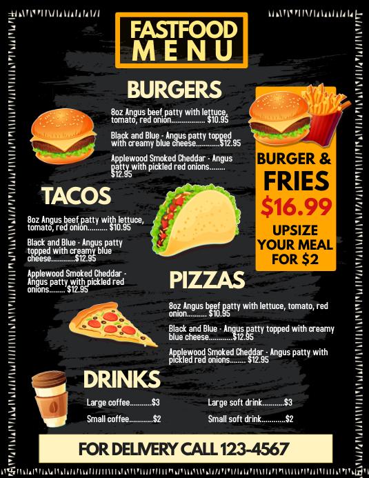 fast food menu template postermywall