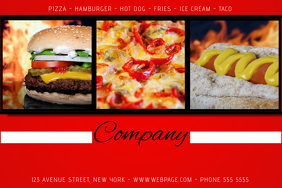 fast food pizza hamburger hot dog flyer template red