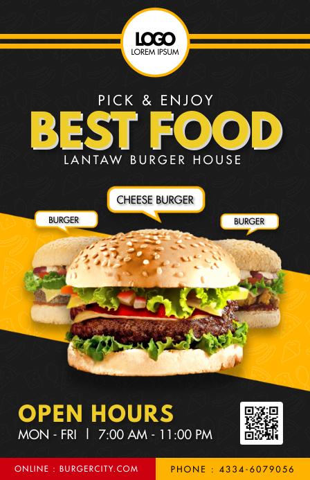 Fast Food Restaurant Table Talker Menu Halv side bred template