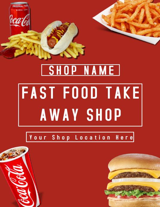 Fast Food Takeaway Shop Flyer Template Folder (US Letter)
