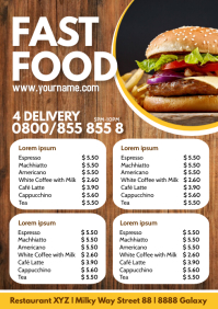 Fast Food Truck Menu Price Flyer Ad Burger