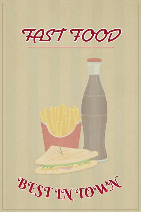 fast food vintage landscape poster