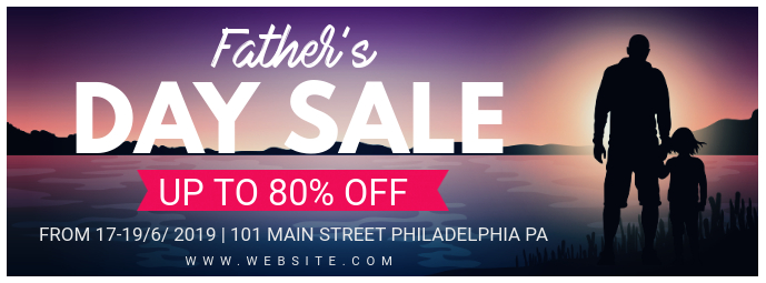 Father's Day Big Sale Custom Banner Cover na Larawan ng Facebook template